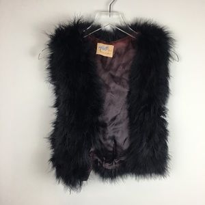 Vintage Top Mode Black Rabbit Fur Vest Soft Fuzzy